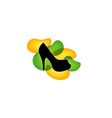 Shoe with green and yellow droplets vector