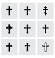 Black crosses icon set vector