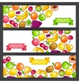 Banners design with stylized fresh ripe fruits vector