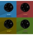 Color set pizza flat modern web button with long vector