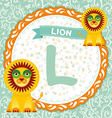 Abc animals l is lion childrens english alphabet vector