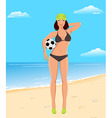 Active girl with ball on beach vector