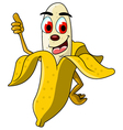 Banana cartoon thumb up vector