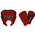 Boxing helmet and gloves vector