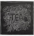 Tea hand lettering and doodles element on vector