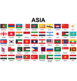 Asian countries flags vector