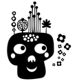 Funny skull with flowers vector