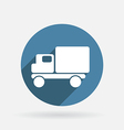 Truck logistic icon circle blue icon with shadow vector