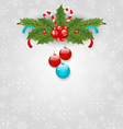 Christmas background with balls holly berry pine vector