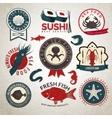 Seafood labels set vector