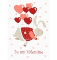Valentine rabbit flying on heart shaped baloons vector