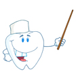 Smiling dental tooth character holding a pointer vector