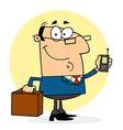 Businessman holding a briefcase and cell phone vector
