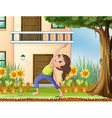 A young girl exercising in front of the house vector