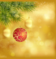 Golden christmas background with baubles and fir vector