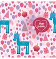 Funny unicorn happy birthday seamless pattern vector
