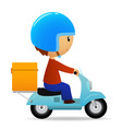 Delivery cartoon scooter with big orange box vector