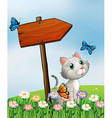 A cat with three butterflies beside the wooden vector
