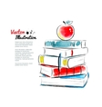 Red apple on books vector
