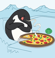 Penguin eating pizza vector