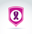 Breast cancer ribbon placed on a purple shield vector