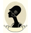 Vintage woman portrait black silhouette on white vector