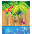 Pool and parrot vector
