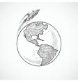 Aircraft icons globe vector
