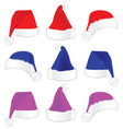 Christmas hat in three color vector