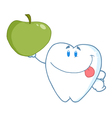 Smiling tooth holding up a green apple vector