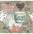 Vintage tea party pattern vector