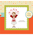 Pretty girl birthday card vector