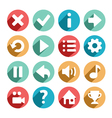 Flat and round game icons vector