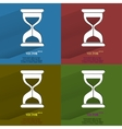 Color set sand clock glass timer  flat modern web vector