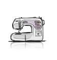 Sewing machine modern tro sketch for your design vector