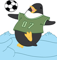 Penguin playing soccer vector