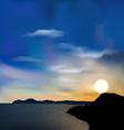 Nature background sea mountain sun sky during vector