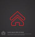 Home outline symbol red on dark background logo vector