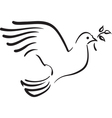 White dove with branch vector