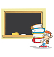 Student with books in front of school chalk board vector