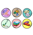 Set of school supplies on round background vector