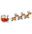 Team of reindeer and santa in his sleigh flying vector