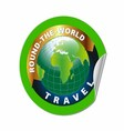 Travel round the world symbol with green earth vector