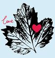 Prints black leaf on a blue background love vector
