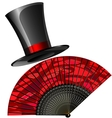 Black top hat and red fan vector
