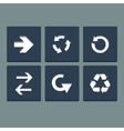 Simple white stamp flat arrow icons set web vector