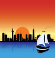 City with boat vector