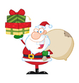 Santa claus holding up a stack of gifts vector