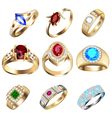 Ring set with precious stones on white vector