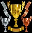 Winning gold silver bronze cups vector